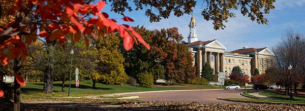 Sherman Hall with fall leaves (1)