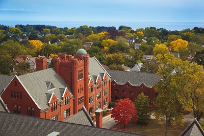 Fall Campus Scene with trees in autumn color. Photographed from Eneris Hall.