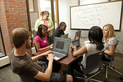 Students in the new Soref Learning Commons.