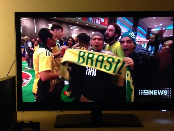 On TV supporting World Cup