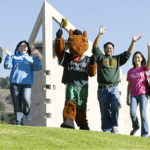 Billy Bronco and students at Cal Poly