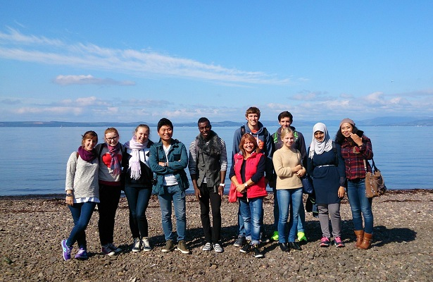 Glasgow School of English students at the beach