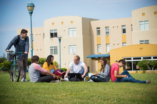 california state university monterey bay students on the campus lawn